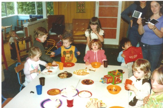 BLPC Sharon King 1981 or 82 Original Playgroup Members Kids eating. Di looking at polaroids