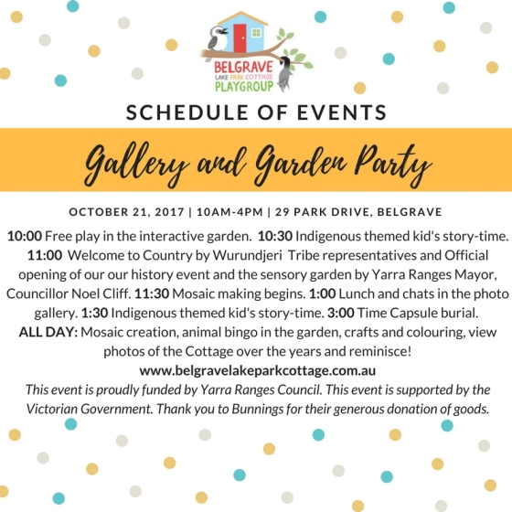 Schedule of Events BLPC Gallery and Garden Party 4.9.17